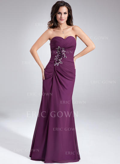 Sheath/Column Sweetheart Floor-Length Evening Dresses With Ruffle Beading Flower(s) (017020638)