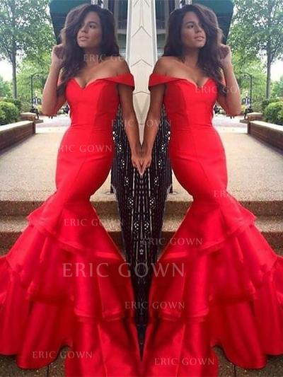 Trumpet/Mermaid Taffeta Prom Dresses Cascading Ruffles Off-the-Shoulder Sleeveless Sweep Train (018148431)