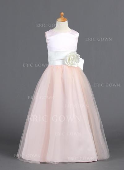 A-Line/Princess Scoop Neck Floor-length With Ruffles/Sash/Flower(s)/Bow(s) Satin/Tulle Flower Girl Dresses (010007827)