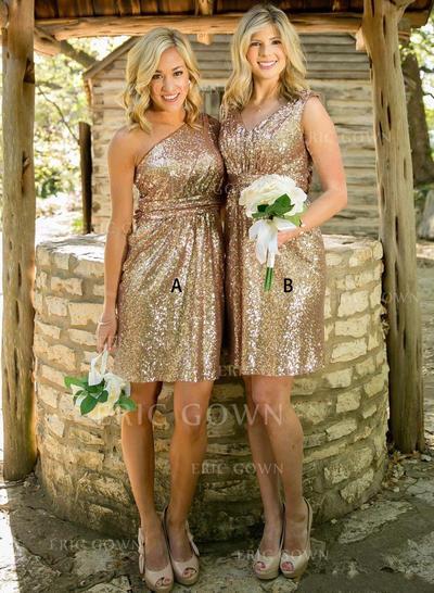 A-Line/Princess Sequined Bridesmaid Dresses One-Shoulder V-neck Sleeveless Knee-Length (007144981)
