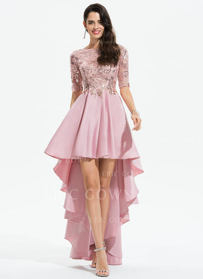 A-Line Scoop Neck Asymmetrical Satin Evening Dress With Lace Sequins (017196089)
