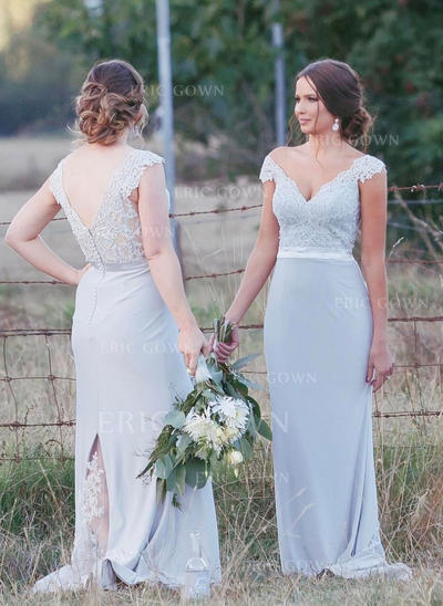 Trumpet/Mermaid Chiffon Lace Bridesmaid Dresses V-neck Sleeveless Sweep Train (007146980)