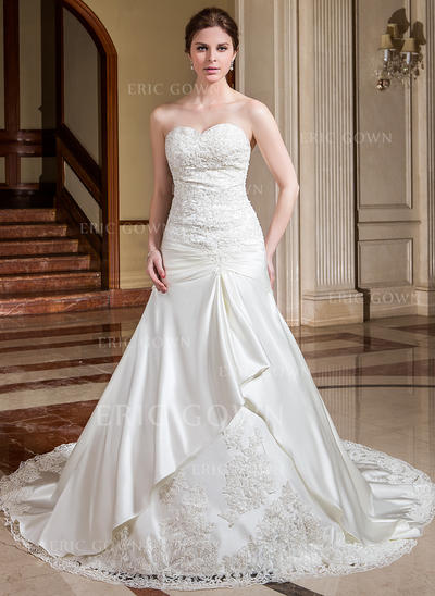 A-Line/Princess Sweetheart Cathedral Train Wedding Dresses With Ruffle Lace Beading Flower(s) (002196824)