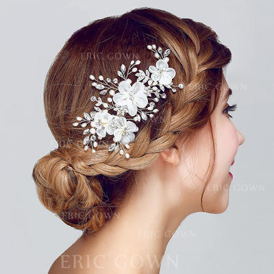 "Flowers & Feathers Wedding/Special Occasion/Party Rhinestone/Alloy/Artificial Silk 5.71""(Approx.14.5cm) 2.76""(Approx.7cm) Headpieces (042156220)"