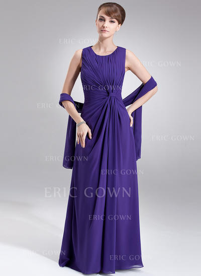 A-Line/Princess Chiffon Sleeveless Scoop Neck Floor-Length Zipper Up Mother of the Bride Dresses (008005977)