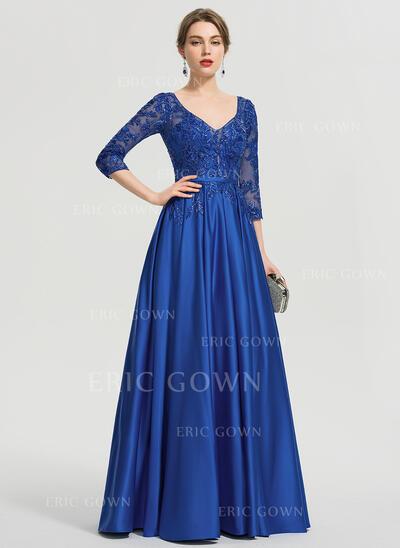 Ball-Gown/Princess V-neck Floor-Length Satin Evening Dress With Sequins (017211382)