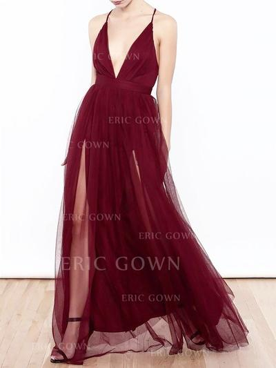 A-Line/Princess V-neck Floor-Length Tulle Prom Dresses With Ruffle (018217362)