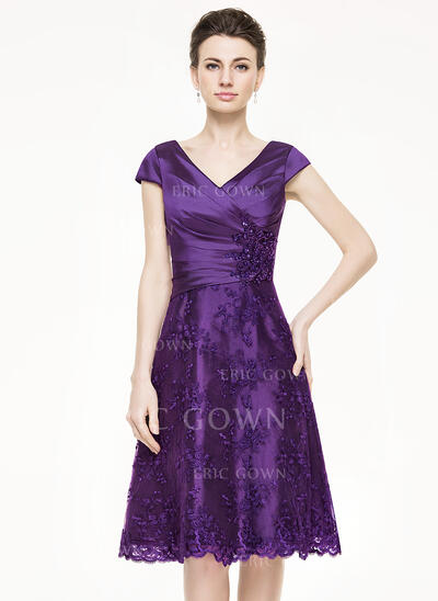 A-Line V-neck Knee-Length Taffeta Lace Mother of the Bride Dress With Ruffle Beading Sequins (008062862)