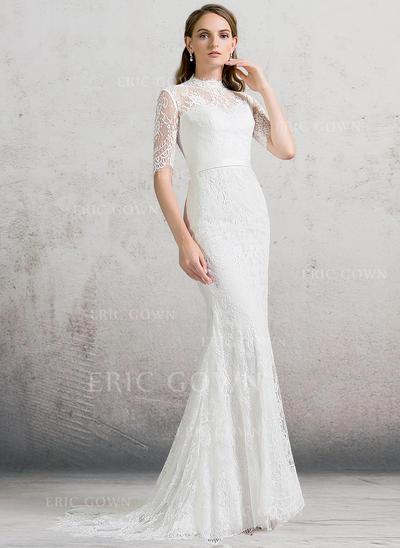 Sheath/Column High Neck Sweep Train Lace Wedding Dress (002088480)