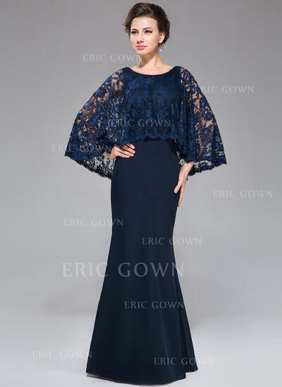 Trumpet/Mermaid Scoop Neck Floor-Length Chiffon Lace Mother of the Bride Dress With Beading Sequins (008025715)
