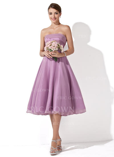 A-Line/Princess Chiffon Bridesmaid Dresses Ruffle Strapless Sleeveless Knee-Length (007001109)