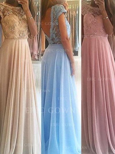 A-Line/Princess Chiffon Prom Dresses Beading Scoop Neck Sleeveless Floor-Length (018210384)