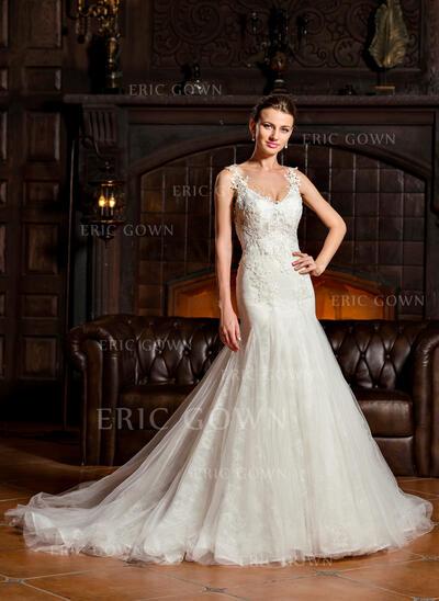 Trumpet/Mermaid V-neck Court Train Tulle Lace Wedding Dress (002067203)