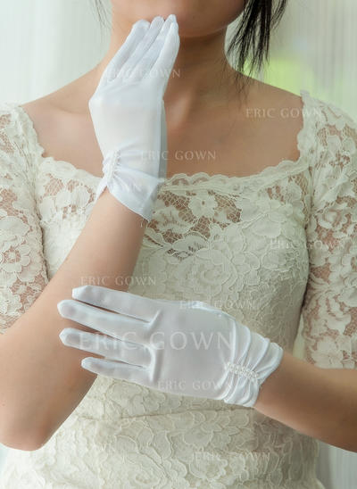 Satin Ladies' Gloves Wrist Length Bridal Gloves Fingertips Gloves (014192197)