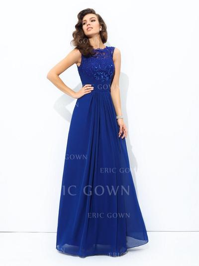A-Line/Princess Scoop Neck Floor-Length Prom Dresses With Lace (018212194)