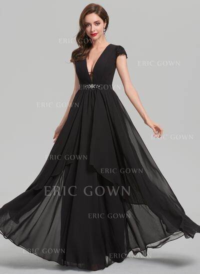 A-Line/Princess V-neck Floor-Length Chiffon Evening Dress With Beading Sequins (017137352)