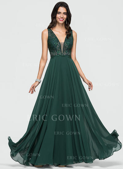 A-Line V-neck Floor-Length Chiffon Evening Dress With Beading Sequins (017211378)