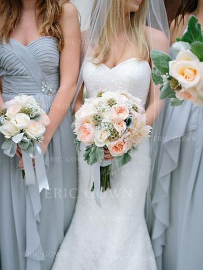 A-Line/Princess Sweetheart Floor-Length Bridesmaid Dresses With Ruffle Beading Cascading Ruffles (007212242)