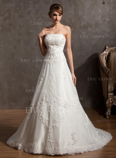 Strapless A-Line/Princess Wedding Dresses Satin Beading Appliques Lace Sleeveless Chapel Train (002213281)