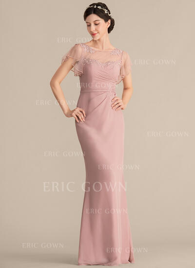 Sheath/Column Scoop Neck Floor-Length Chiffon Evening Dress With Beading Appliques Lace Sequins (017192592)