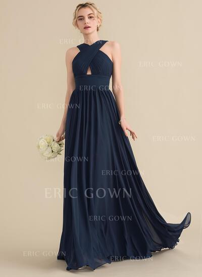 A-Line/Princess V-neck Sweep Train Chiffon Evening Dress With Ruffle (017164908)