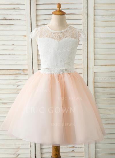 A-Line Knee-length Flower Girl Dress - Tulle/Lace Sleeveless Scoop Neck (010183533)