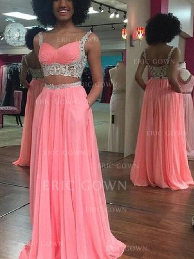 A-Line/Princess Sweetheart Sweep Train Prom Dresses With Lace (018145908)