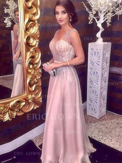 A-Line/Princess V-neck Floor-Length Prom Dresses With Beading (018218638)