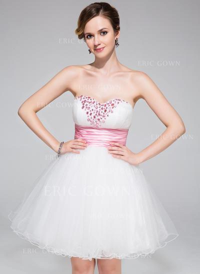 A-Line/Princess Sweetheart Short/Mini Homecoming Dresses With Ruffle Sash Beading (022214002)