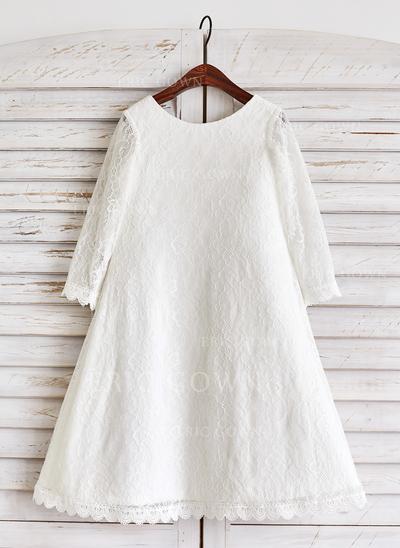 A-Line/Princess Tea-length Flower Girl Dress - Lace Long Sleeves Scoop Neck (010091387)