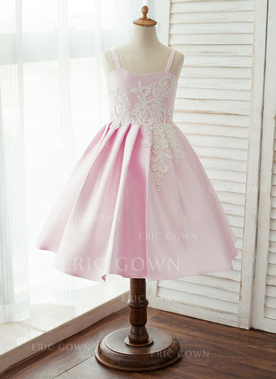A-Line/Princess Knee-length Flower Girl Dress - Satin Sleeveless Straps With Lace (010125854)