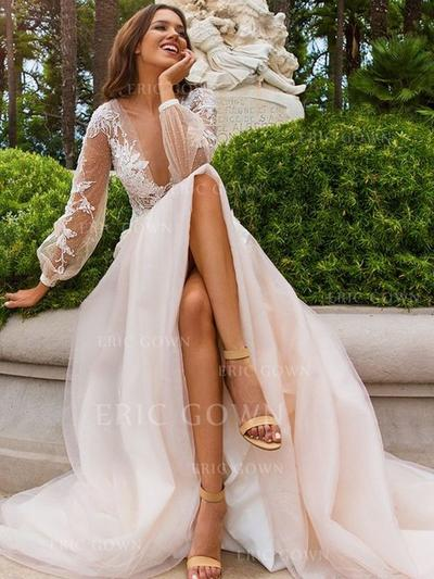 Deep V Neck A-Line/Princess Wedding Dresses Tulle Appliques Lace Long Sleeves Sweep Train (002213547)