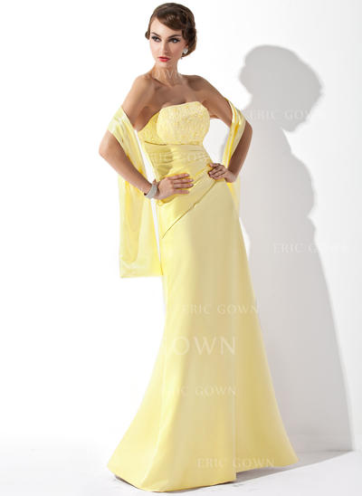 A-Line/Princess Satin Lace Bridesmaid Dresses Ruffle Beading Sequins Strapless Sleeveless Floor-Length (007001807)