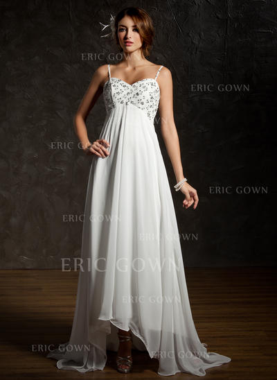 Empire Sweetheart Asymmetrical Wedding Dresses With Ruffle Lace Beading Sequins (002001659)