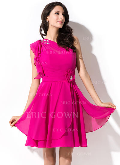A-Line/Princess One-Shoulder Short/Mini Chiffon Homecoming Dresses With Beading Sequins Cascading Ruffles (022214015)