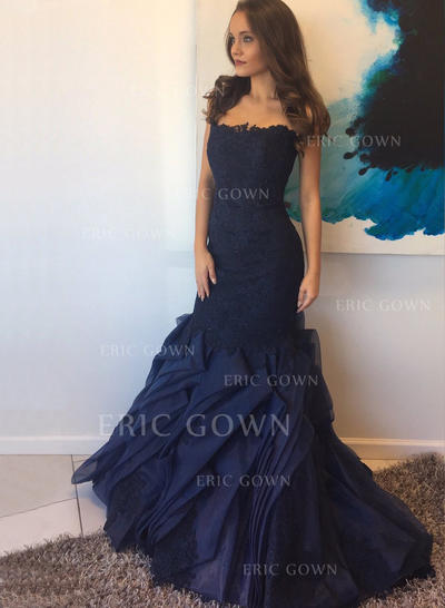 Trumpet/Mermaid Tulle Prom Dresses Strapless Sleeveless Sweep Train (018148486)