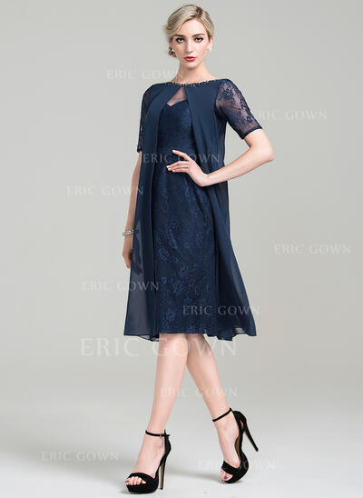 Sheath/Column Scoop Neck Knee-Length Chiffon Lace Mother of the Bride Dress With Beading Sequins (008085299)