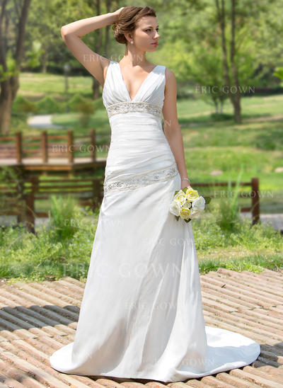 A-Line/Princess Sweetheart Court Train Wedding Dresses With Ruffle Beading Sequins (002001407)