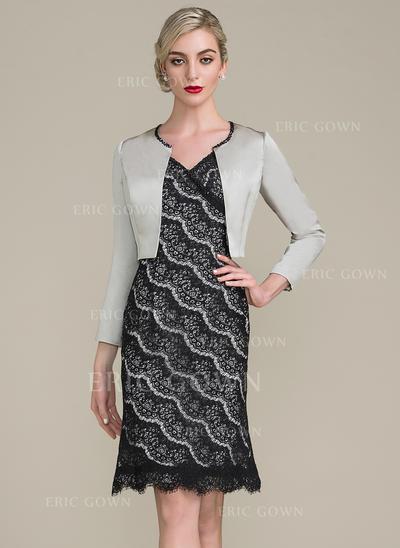 Sheath/Column Lace Sleeveless V-neck Knee-Length Zipper Up Mother of the Bride Dresses (008102709)