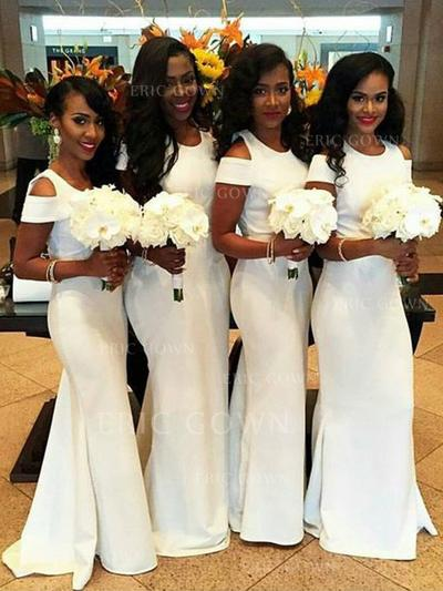 Trumpet/Mermaid Satin Bridesmaid Dresses Scoop Neck Sleeveless Sweep Train (007145033)