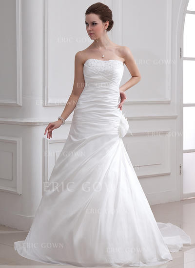 A-Line/Princess Sweetheart Court Train Wedding Dresses With Ruffle Beading Feather Flower(s) (002001716)