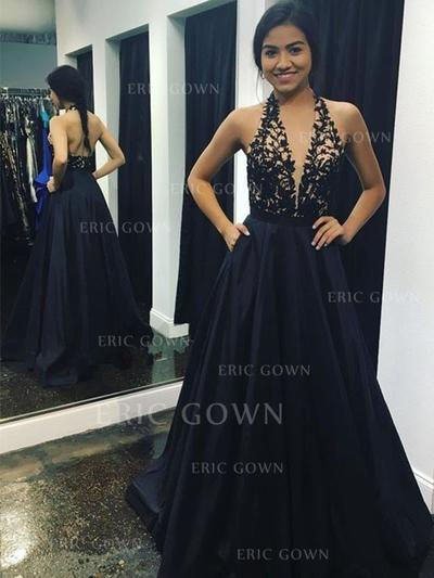 A-Line/Princess V-neck Sweep Train Prom Dresses With Appliques Lace (018218338)