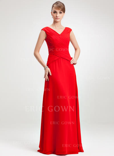 A-Line/Princess Chiffon Sleeveless V-neck Floor-Length Zipper Up Mother of the Bride Dresses (008006264)
