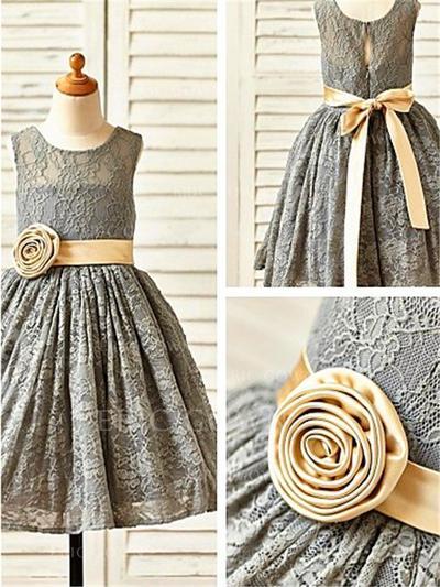 A-Line/Princess Scoop Neck Tea-length With Sash/Flower(s) Lace Flower Girl Dresses (010211842)