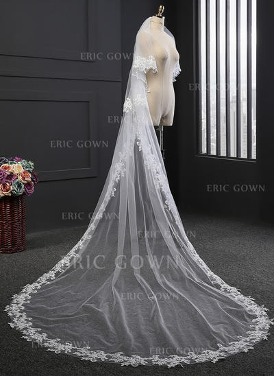 Cathedral Bridal Veils Tulle Two-tier Oval With Lace Applique Edge Wedding Veils (006152168)