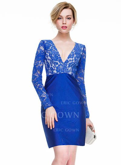 Sheath/Column V-neck Short/Mini Lace Jersey Cocktail Dress (016077849)