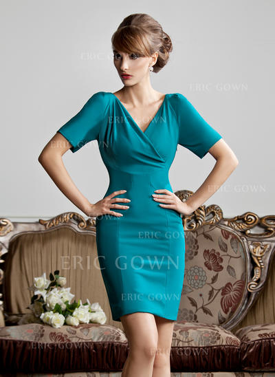 Sheath/Column Jersey Short Sleeves V-neck Short/Mini Zipper Up at Side Mother of the Bride Dresses (008213126)