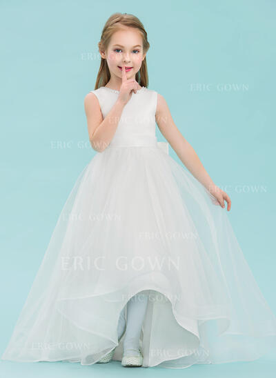 A-Line/Princess Asymmetrical Flower Girl Dress - Satin/Tulle Sleeveless Scoop Neck With Beading/Bow(s) (010143243)