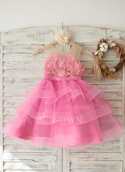 A-Line/Princess Knee-length Flower Girl Dress - Tulle Sleeveless Scoop Neck With Flower(s) (010117697)