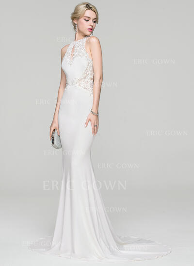 Trumpet/Mermaid Scoop Neck Sweep Train Jersey Wedding Dress With Beading Sequins (002118461)